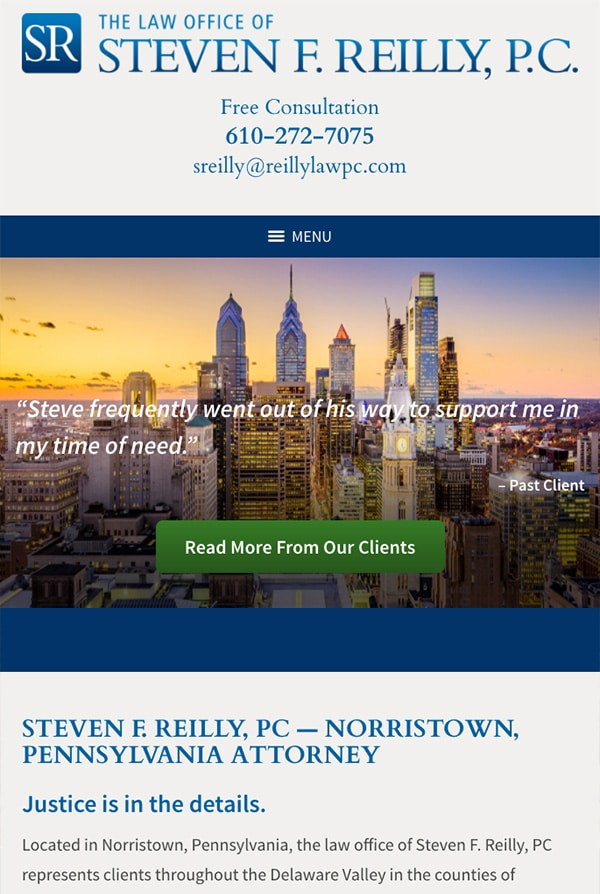 Mobile Friendly Law Firm Webiste for Steven F. Reilly, PC