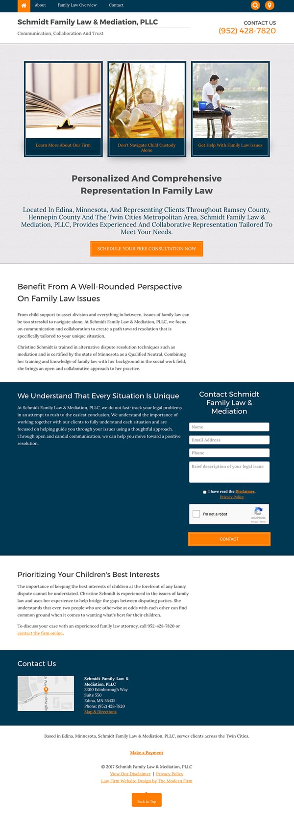 Law Firm Website for Schmidt Family Law & Mediation, PLLC