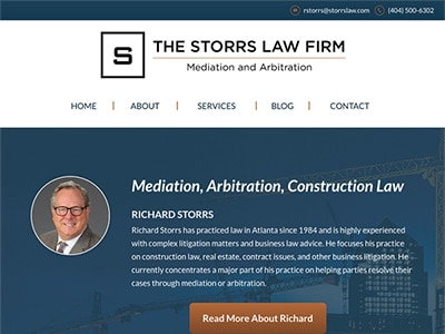 Law Firm Website design for The Storrs Law Firm