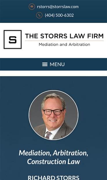 Responsive Mobile Attorney Website for The Storrs Law Firm
