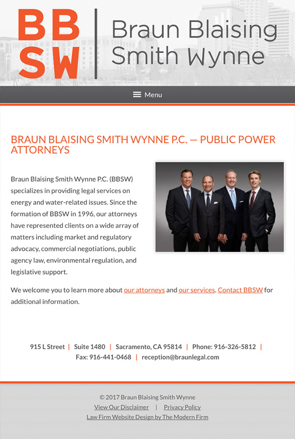 Mobile Friendly Law Firm Webiste for Braun Blaising Smith Wynne