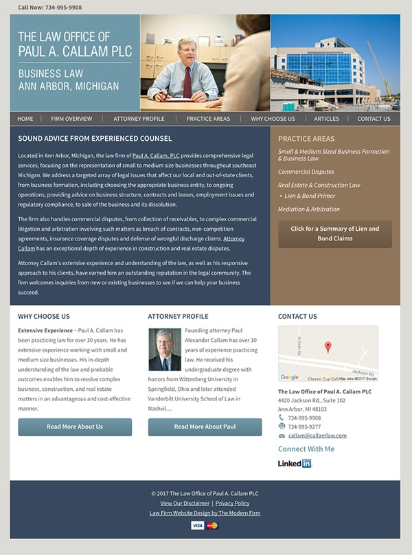 Law Firm Website for The Law Office of Paul A. Callam PLC