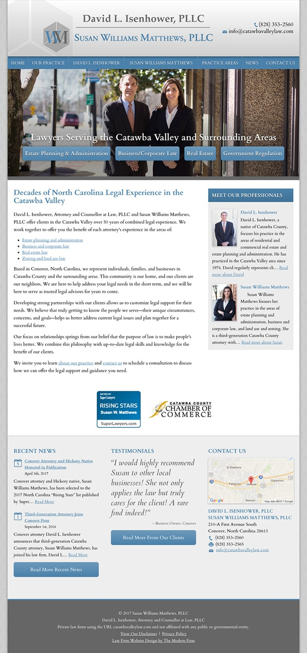 Law Firm Website for David L. Isenhower, PLLC and Susan Williams Matthews, PLLC