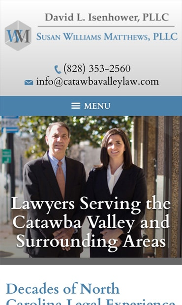 Responsive Mobile Attorney Website for David L. Isenhower, PLLC and Susan Williams Matthews, PLLC