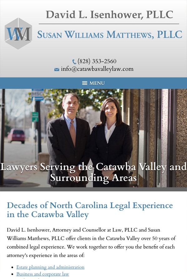 Mobile Friendly Law Firm Webiste for David L. Isenhower, PLLC and Susan Williams Matthews, PLLC