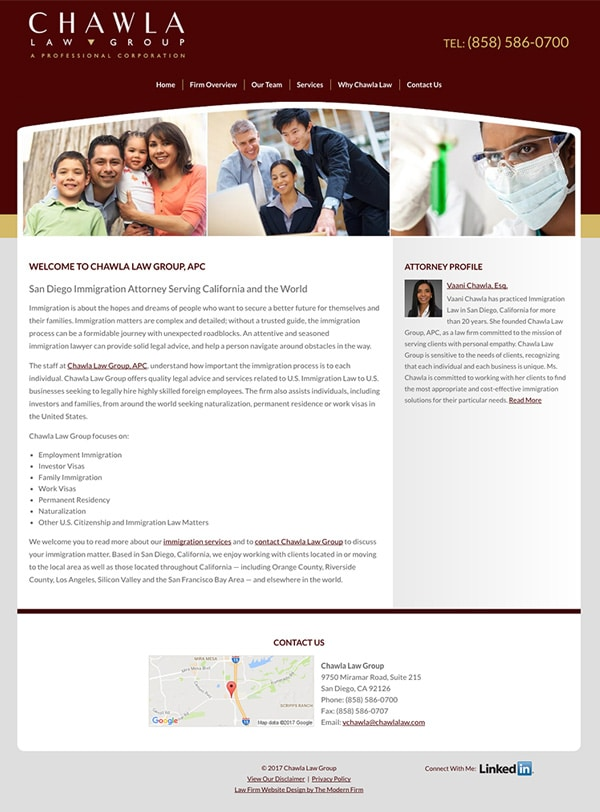 Law Firm Website Design for Chawla Law Group