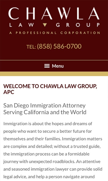 Responsive Mobile Attorney Website for Chawla Law Group