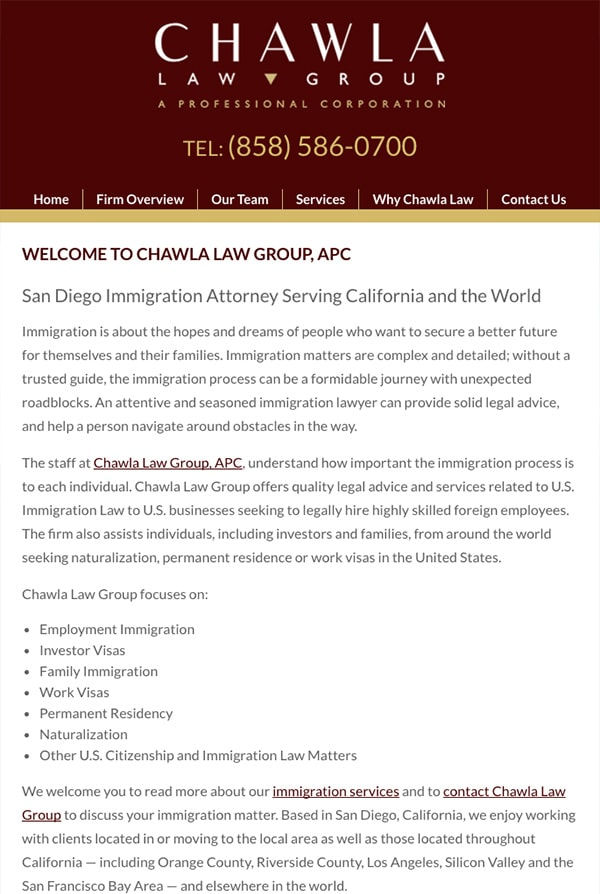 Mobile Friendly Law Firm Webiste for Chawla Law Group