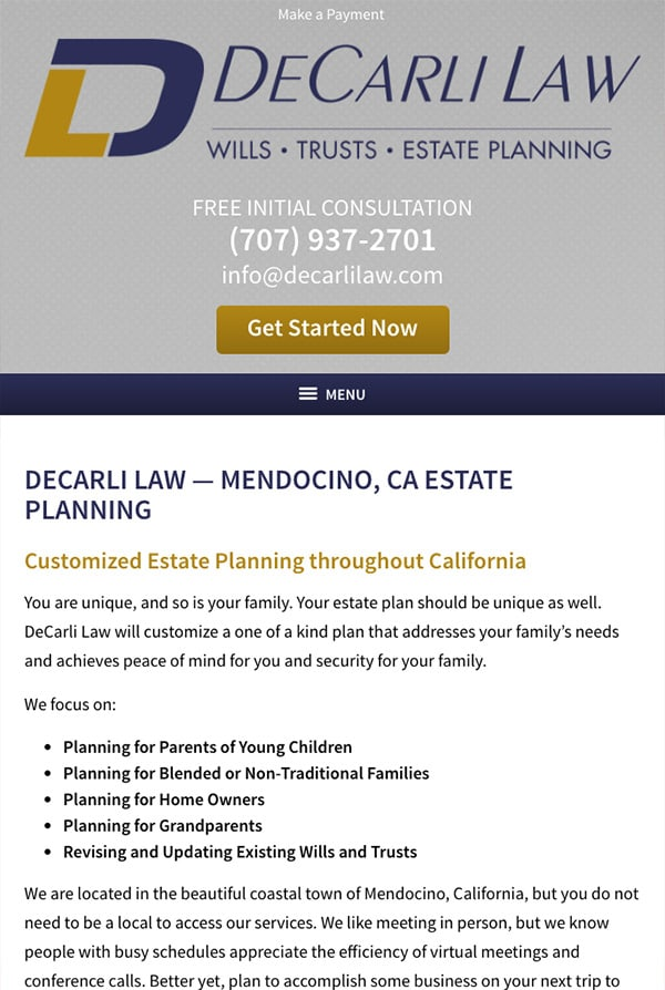 Mobile Friendly Law Firm Webiste for DeCarli Law