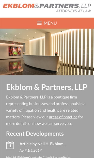 Responsive Mobile Attorney Website for Ekblom & Partners, LLP