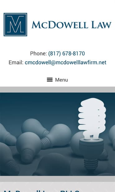 Responsive Mobile Attorney Website for McDowell Law PLLC