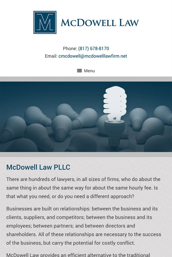 Mobile Friendly Law Firm Webiste for McDowell Law PLLC