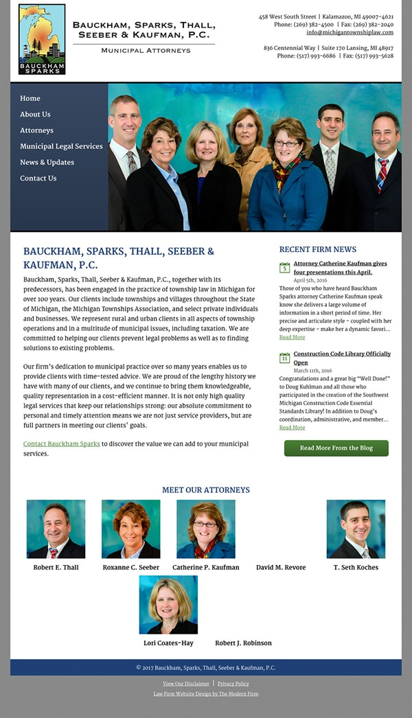 Law Firm Website Design for Bauckham, Sparks, Thall, Seeber & Kaufman, P.C.