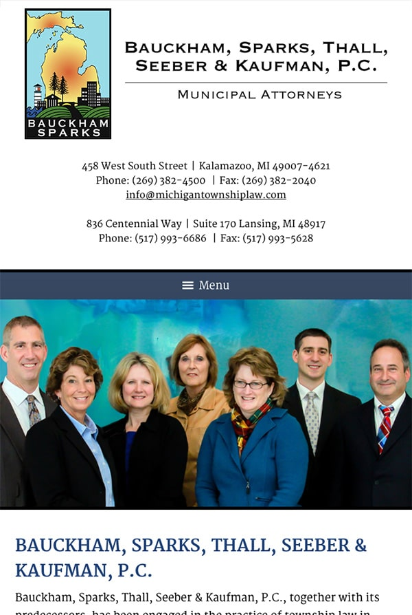 Mobile Friendly Law Firm Webiste for Bauckham, Sparks, Thall, Seeber & Kaufman, P.C.