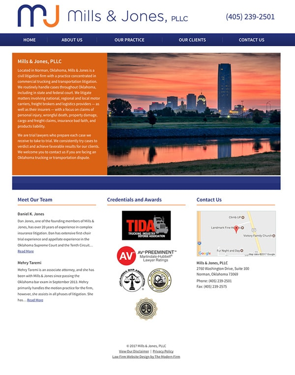 Law Firm Website for Mills & Jones, PLLC
