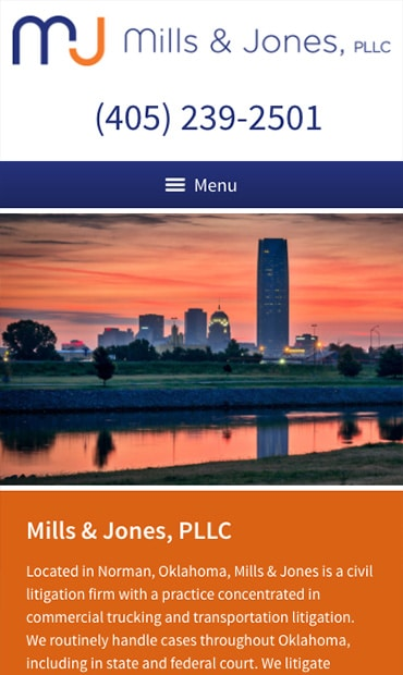 Responsive Mobile Attorney Website for Mills & Jones, PLLC