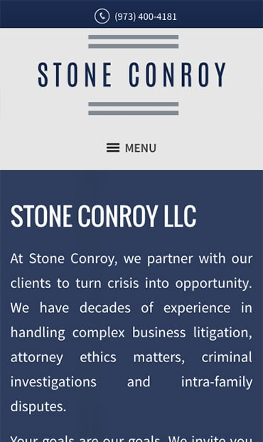 Responsive Mobile Attorney Website for Stone Conroy LLC
