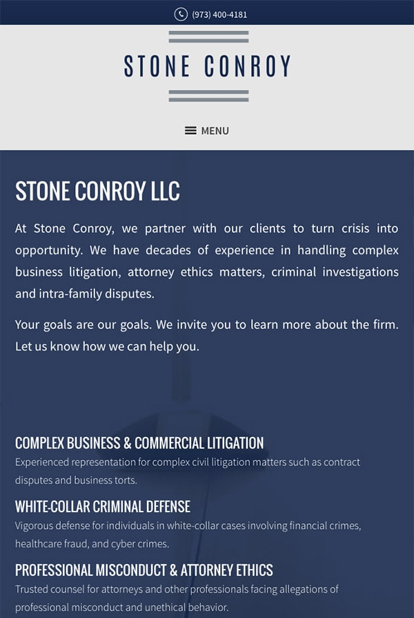 Mobile Friendly Law Firm Webiste for Stone Conroy LLC