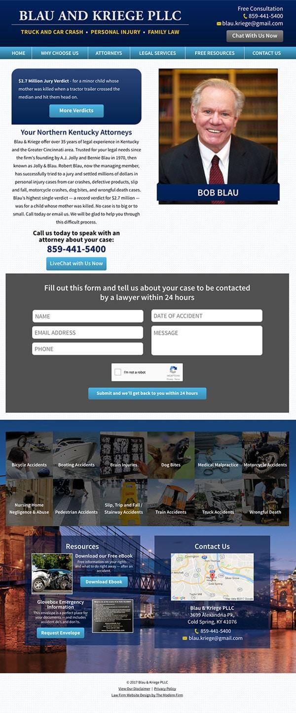 Law Firm Website Design for Blau & Kriege PLLC