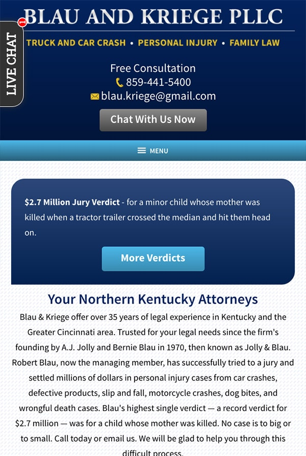 Mobile Friendly Law Firm Webiste for Blau & Kriege PLLC