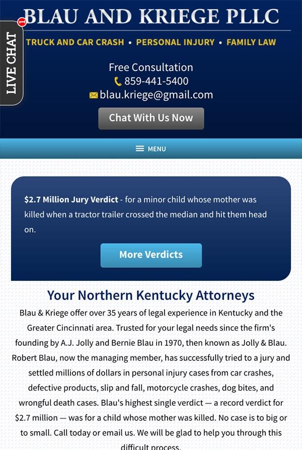 Mobile Friendly Law Firm Webiste for Blau & Kriege PLLC