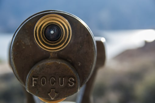 Telescope with word: Focus