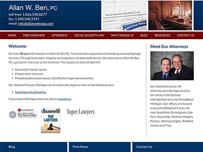 Law Firm Website Design for Allan W. Ben, PC