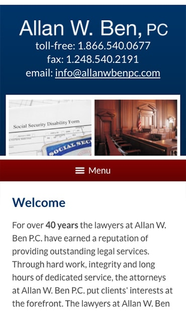 Responsive Mobile Attorney Website for Allan W. Ben, PC