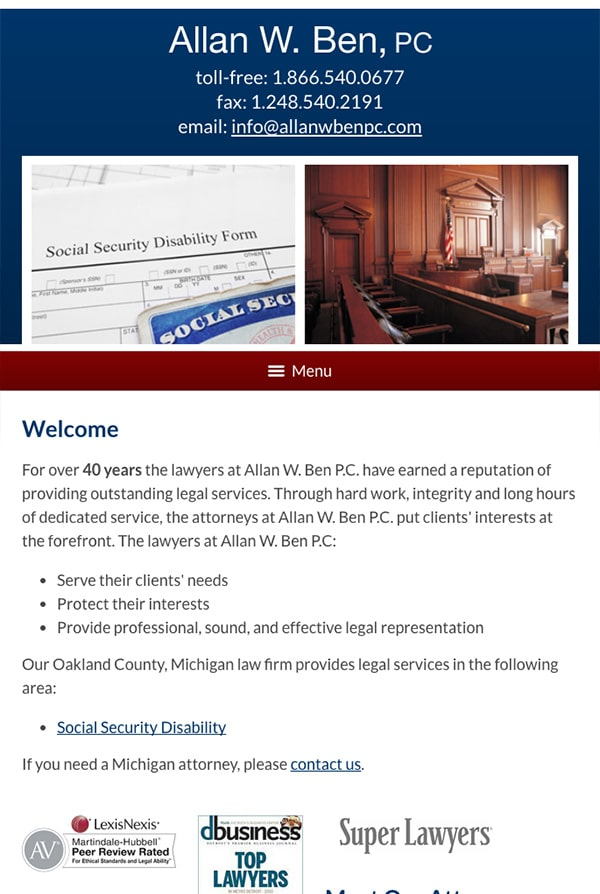 Mobile Friendly Law Firm Webiste for Allan W. Ben, PC