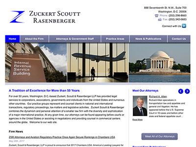 Law Firm Website design for Zuckert, Scoutt & Rasenbe…