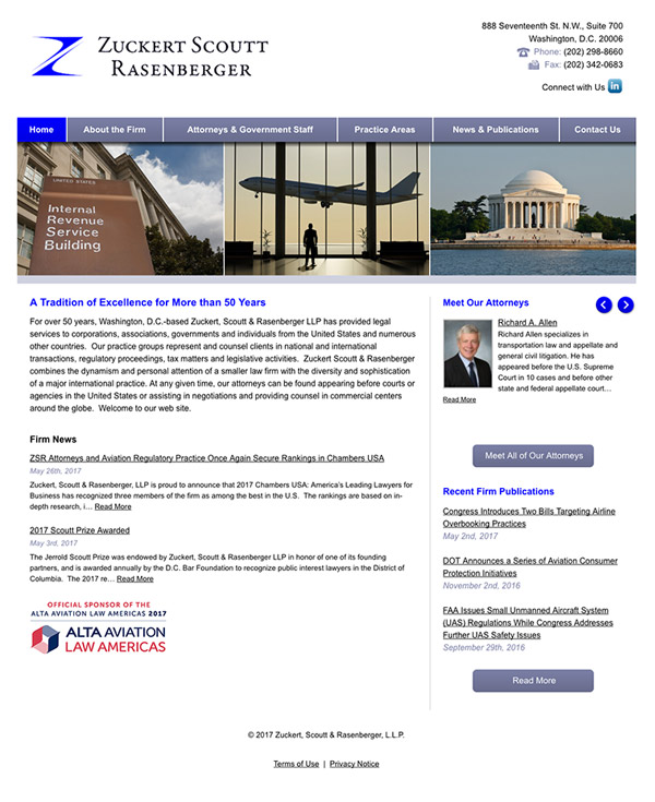 Law Firm Website Design for Zuckert, Scoutt & Rasenberger, L.L.P.