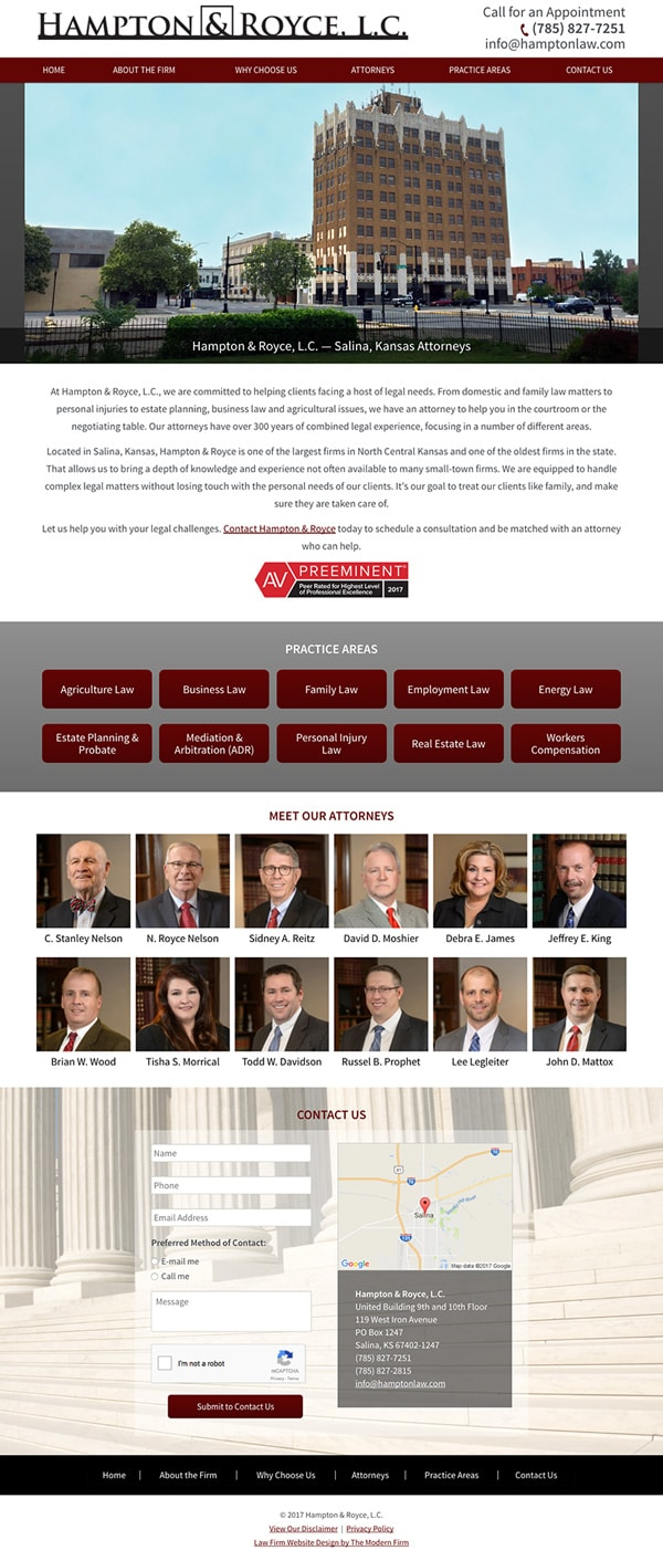Law Firm Website Design for Hampton & Royce, L.C.