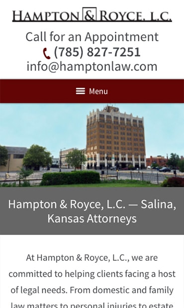 Responsive Mobile Attorney Website for Hampton & Royce, L.C.