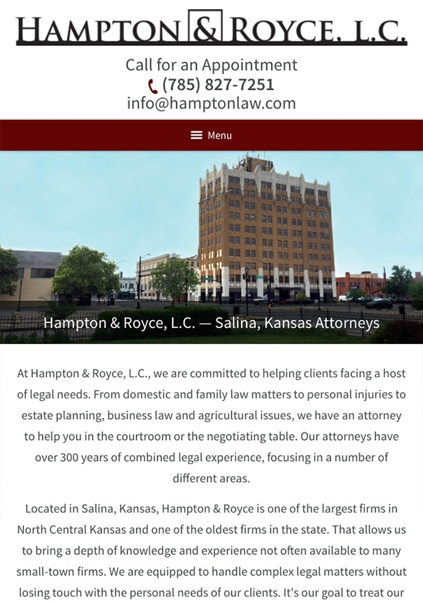 Mobile Friendly Law Firm Webiste for Hampton & Royce, L.C.