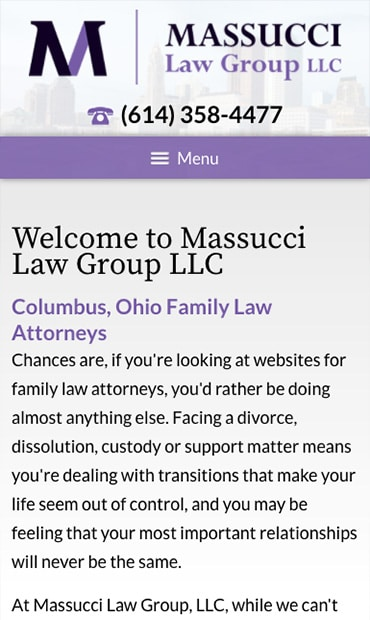 Responsive Mobile Attorney Website for Massucci Law Group LLC