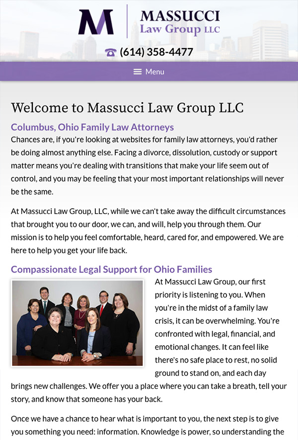 Mobile Friendly Law Firm Webiste for Massucci Law Group LLC