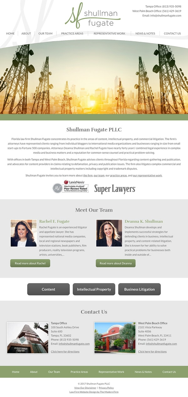 Law Firm Website Design for Shullman Fugate PLLC