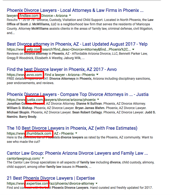 Attorney Search Results in Google