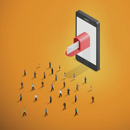 Email Marketing - Crowd Walking Toward Smartphone