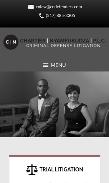 Responsive Mobile Attorney Website for Chartier & Nyamfukudza, P.L.C.