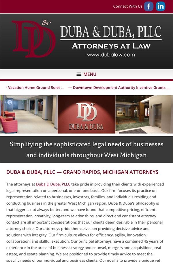 Mobile Friendly Law Firm Webiste for Duba & Duba, PLLC