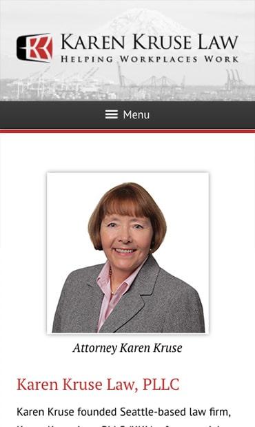 Responsive Mobile Attorney Website for Karen Kruse Law, PLLC