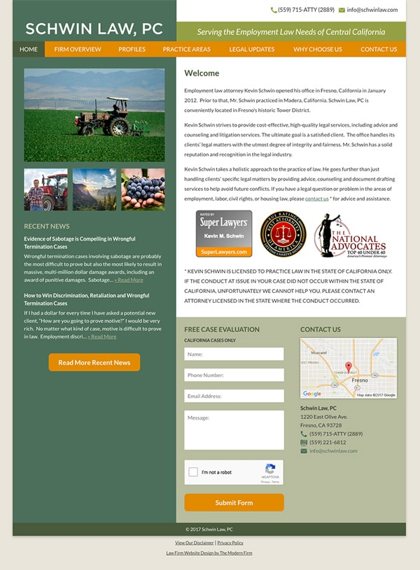 Law Firm Website Design for Law Office of Kevin Schwin