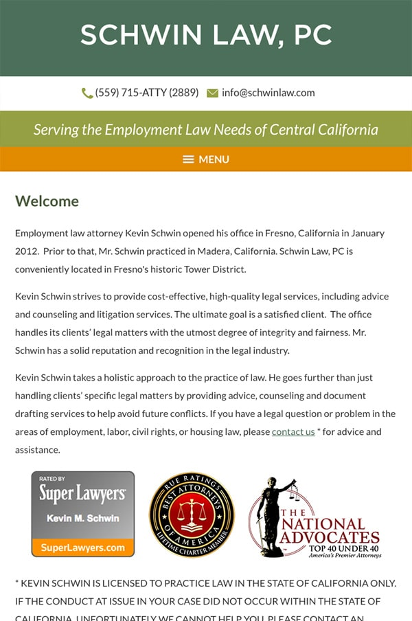 Mobile Friendly Law Firm Webiste for Law Office of Kevin Schwin