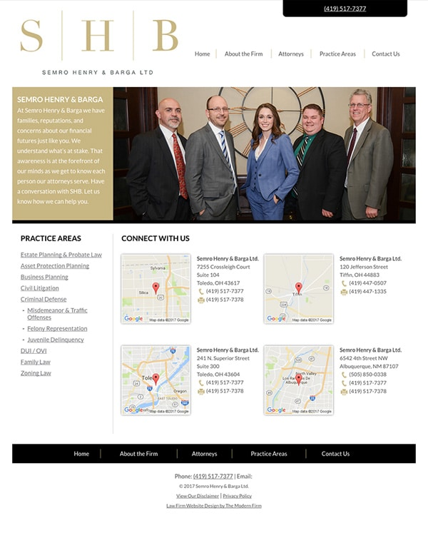 Law Firm Website Design for Semro Henry & Barga Ltd.