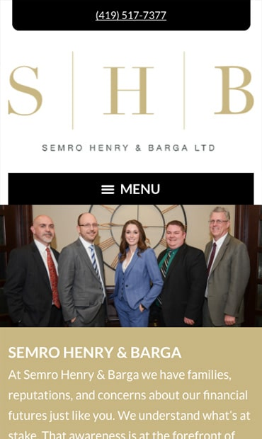 Responsive Mobile Attorney Website for Semro Henry & Barga Ltd.