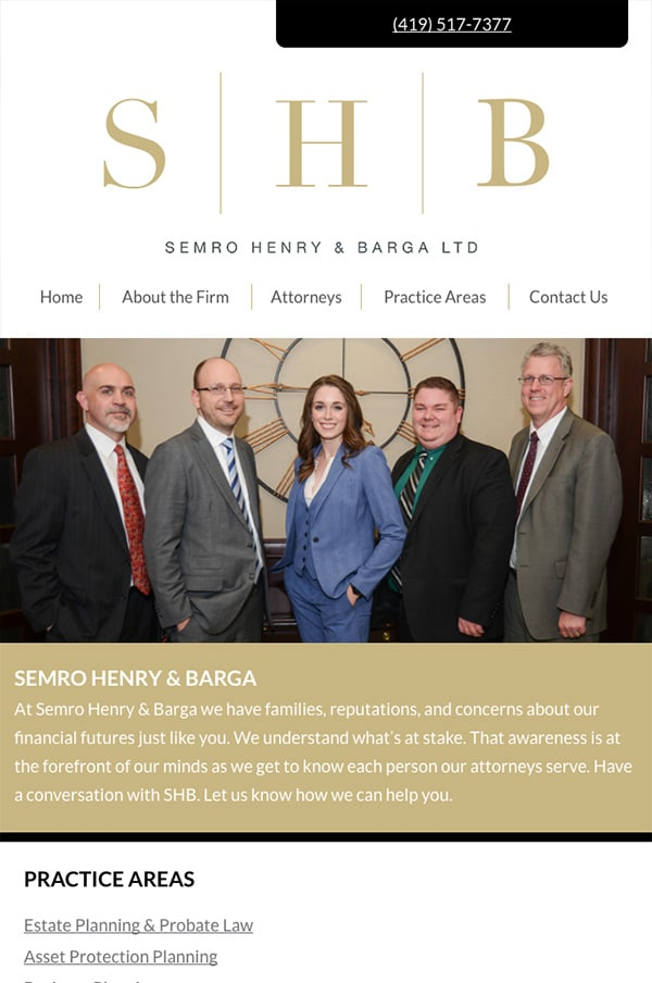 Mobile Friendly Law Firm Webiste for Semro Henry & Barga Ltd.