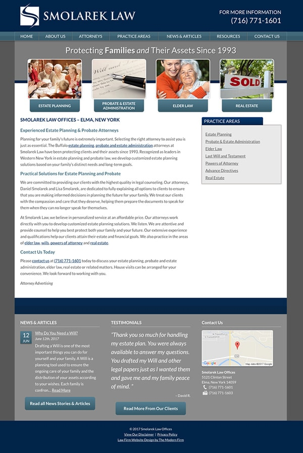 Law Firm Website for Smolarek Law Offices