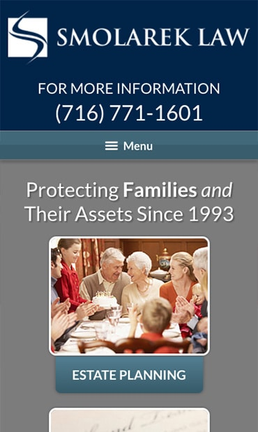 Responsive Mobile Attorney Website for Smolarek Law Offices