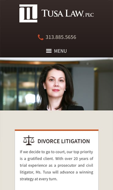 Responsive Mobile Attorney Website for Tusa Law, PLC